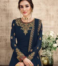 blue Georgette unstitched embroidered top & bottom with dupatta