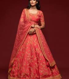Carrot pink Thread, Zari, Dori, and Sequins Embroidered Art Silk Semi Stitched Bridal Lehenga