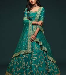 Green Thread, Zari, Dori, and Sequins Embroidered Art Silk Semi Stitched Bridal Lehenga