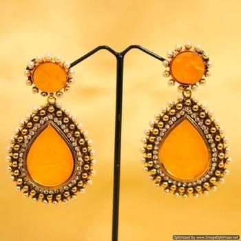 Yellow Pearl Danglers-Drops