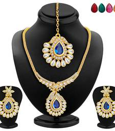 Buy Resplendent Gold Plated AD Necklace Set with Set of 5 Changeable Stone necklace-set online