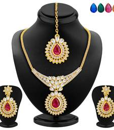 Buy Attractive Gold Plated AD Necklace Set with Set of 5 Changeable Stone necklace-set online