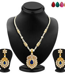 Buy Classy Gold Plated AD Necklace Set with Set of 5 Changeable Stone necklace-set online