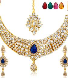 Buy Stylish Gold Plated AD Necklace Set with Set of 5 Changeable Stone women-ethnic-wear online
