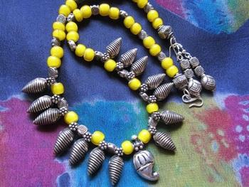 Yellow ethnic necklace