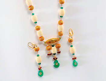 Designer Emerald Dholak Necklace Set