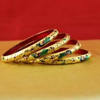 Rajasthani gokharoo,kara churi meenakari,moti,cz,stone,bangles size-2.4,2.6,2.8