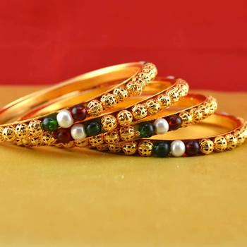 Rajasthani gokharoo,kara churi meenakari,moti,cz,stone,bangles