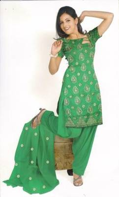 Parrot Green Unstitched Salwar Kameez set, by Just Women