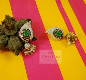 Meena CZ Jade Jhumka Jhumki Earrings