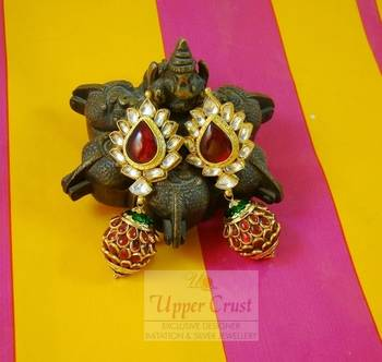 Kundan high end exclusive pacchi work earrings