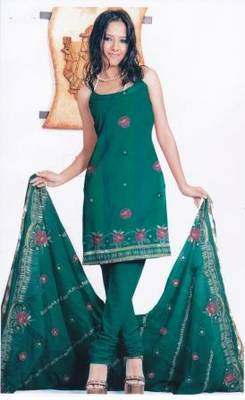 Contemporary Green Unstitched Salwar Suit, by Just Women