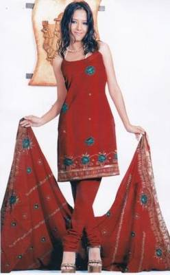 Contemporary Red Unstitched Salwar Suit, by Just Women