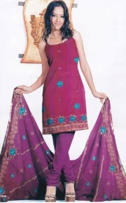 Contemporary Pink Unstitched Salwar Suit, by Just Women