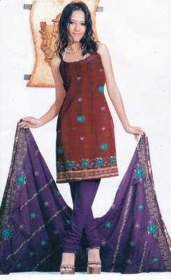 Contemporary Purple Unstitched Salwar Suit, by Just Women