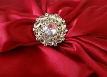Adjustable Ring Kundan Round - White