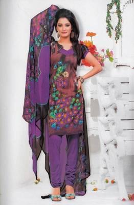 Crepe dress material elegant designer unstitched salwar suit d.no 7314