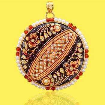 Tanjore Flower Round Pendant
