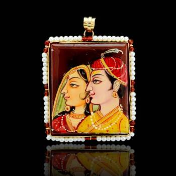 Radha Krishna Tanjore Pendant