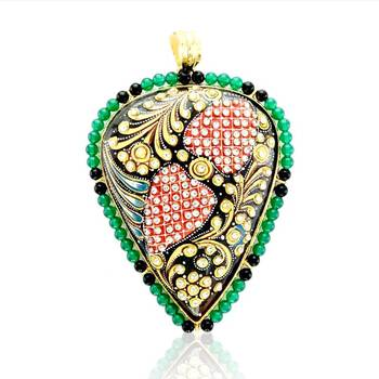 Tanjore Heart Drop shape Pendant