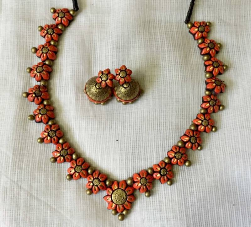 Buy Orange And Antique Gold And Terracotta Jewellery Online