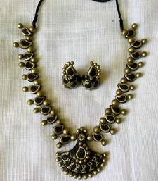 Buy Black and antique gold and Terracotta jewellery Necklace online