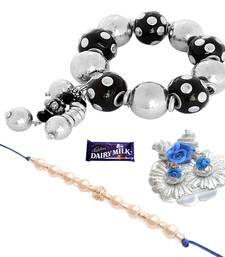 Buy Mesmerising Silvery   Bracelet Rakhi Set For Bhaiya Bhabhi bracelet-rakhi online