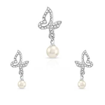 Mahi Rhodium Plated Pearl Drop Pendant Set with Swarovski elements