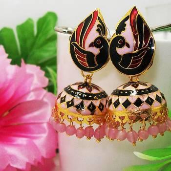 Meenakari Peacock Pendant Tokri Jhumki Pink Black