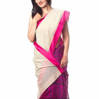 Cream & Pink Printed Half & Half Saree