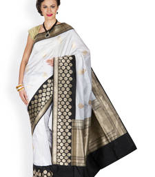 Buy White  and  Black hand_woven silk saree with blouse banarasi-silk-saree online