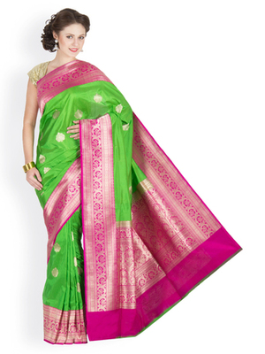 ab95f67c5efb61 Parrot Green and rani hand woven silk saree with blouse - Banarasi ...
