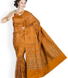 Buy Mustard hand_woven satin saree with blouse satin-saree online