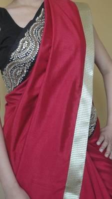 Rich deep red silk sari