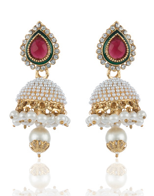 Pearl Studed Jhumkis in Maroon Green