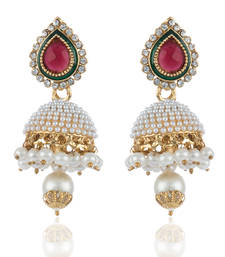 Buy Pearl Studed Jhumkis in Maroon Green jhumka online