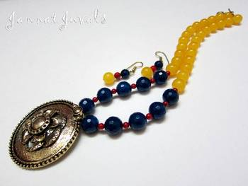 Golden Yellow and Blue necklace