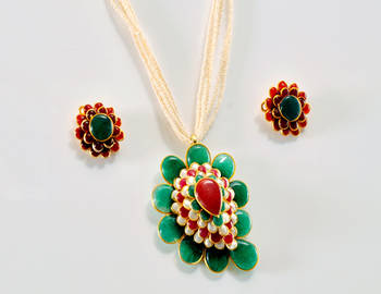 Precious Floral Multi Colour Pendent Set