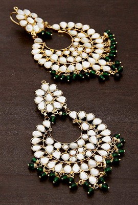 Green Beads and Kundan Embellished Dangler Earrinngs 217ED25