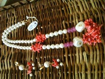 pearl mala with coral chips