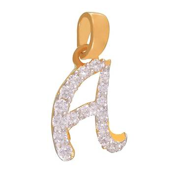 Mahi Amazing A Initial Pendant with CZ