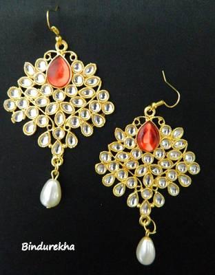 Red_White_Kundan_Pearl_Earrings