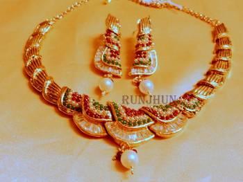 ruby emrald and cz necklace set
