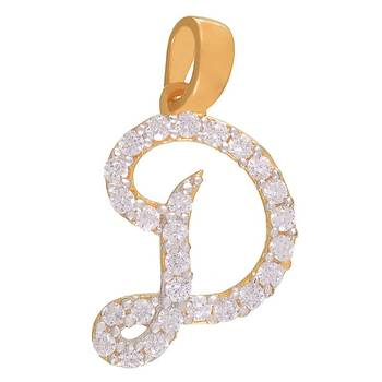 Mahi Delightful D Initial Pendant with CZ