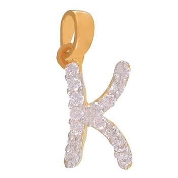 Mahi Kind K Initial Pendant with CZ