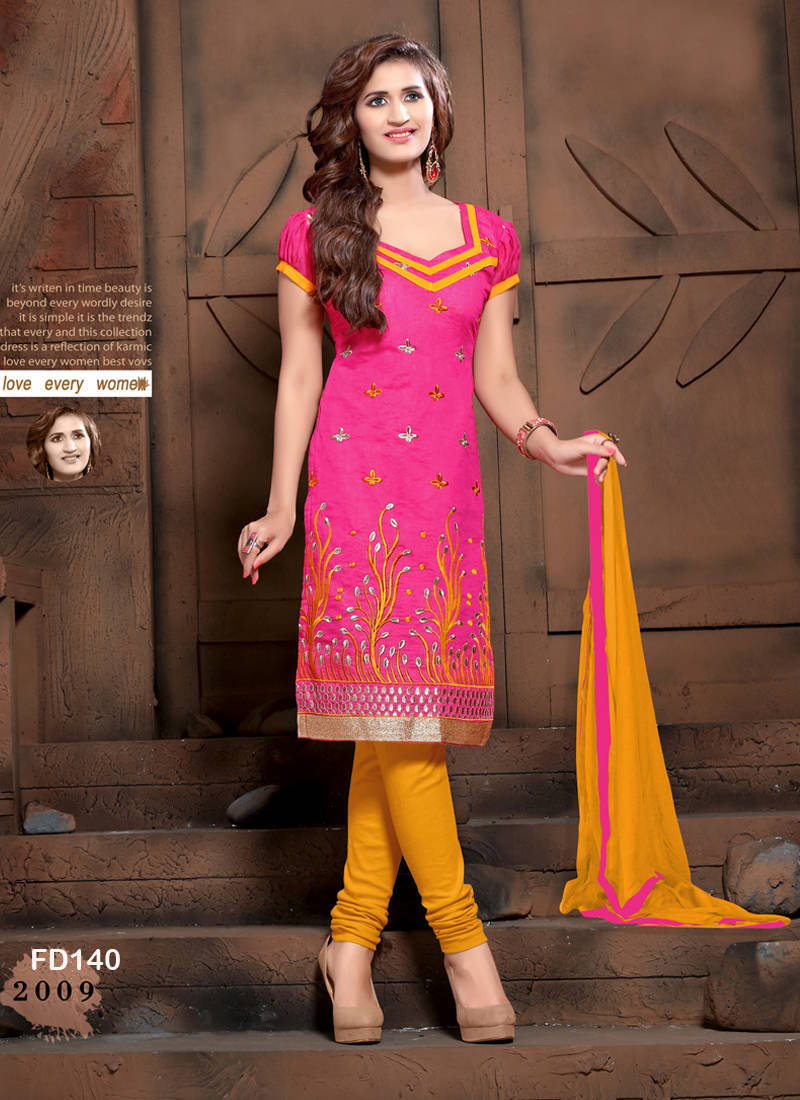 0f332e48d8 PINK embroidered Chanderi unstitched salwar with dupatta - FABFIRKI ...