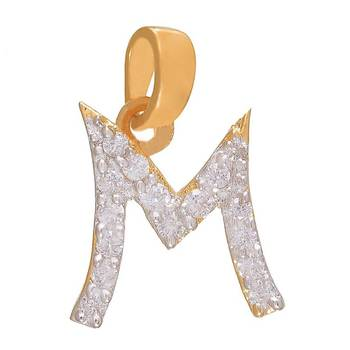 Mahi Majestic M Initial Pendant with CZ