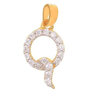 Mahi Quick Q Initial Pendant with CZ