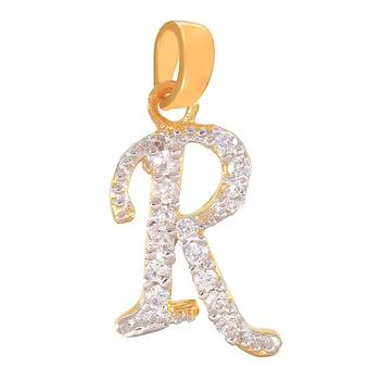 Mahi Ravishing R Initial Pendant with CZ
