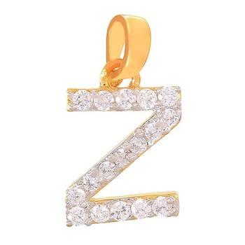 Mahi Zealous Z Initial Pendant with CZ